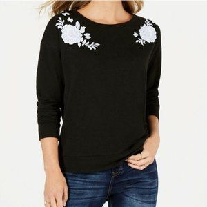STYLE & CO Petite Floral-Embroidered Sweater
